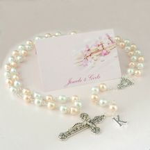 Pretty Pearl Rosary Beads with Letter Charm, 8mm